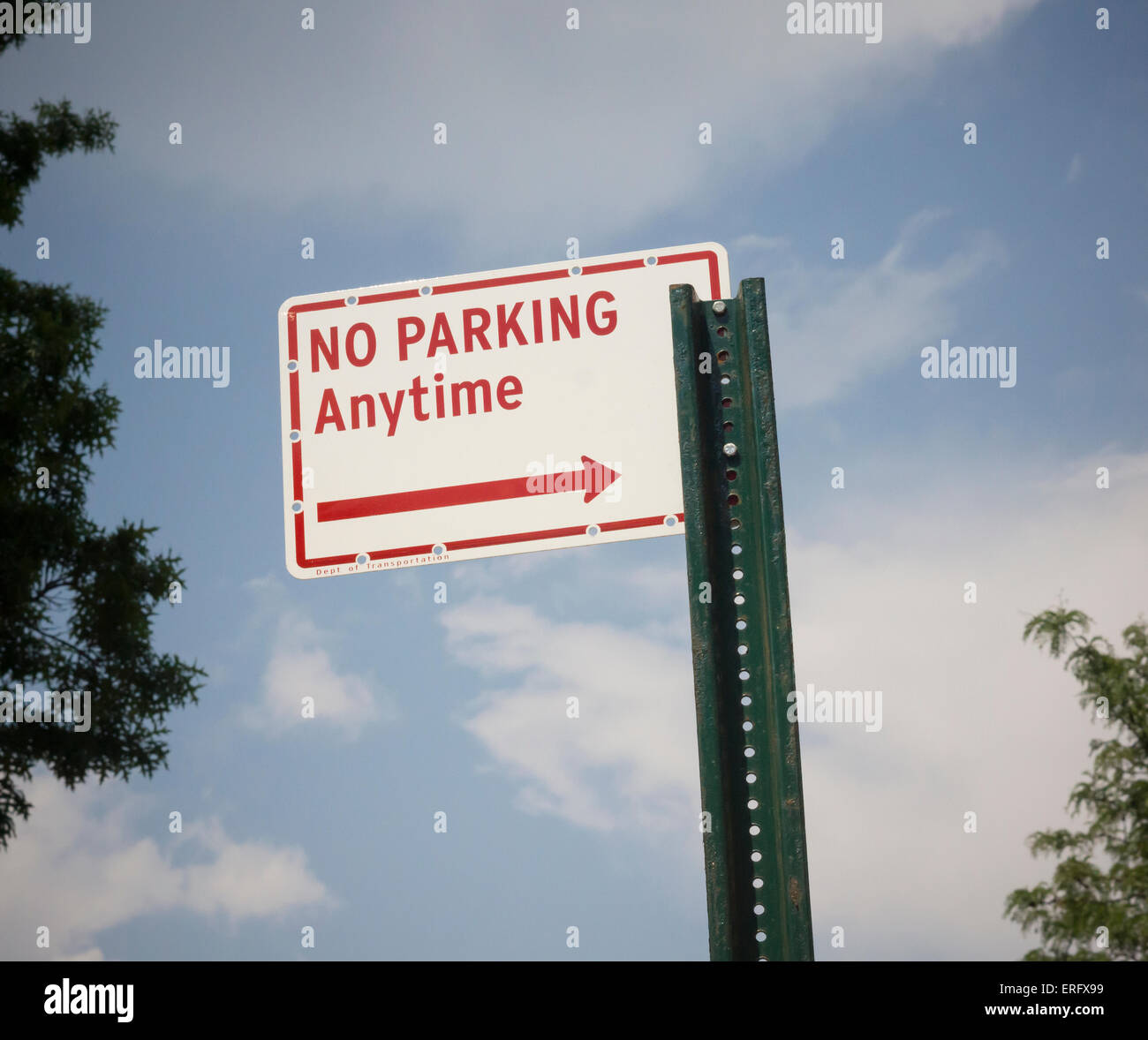 A sign prohibits parking anytime in the Clinton Hill neighborhood of Brooklyn in New York on Sunday, May 31, 2015. - Stock Image