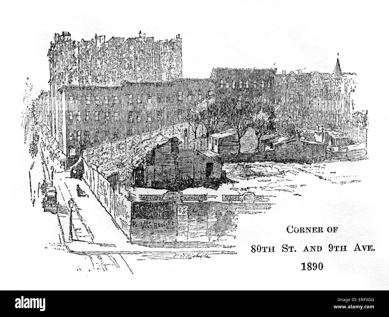 Corner of 80th Street and 9th Avenue, New York 1890. Late nineteenth-century illustration - Stock Image