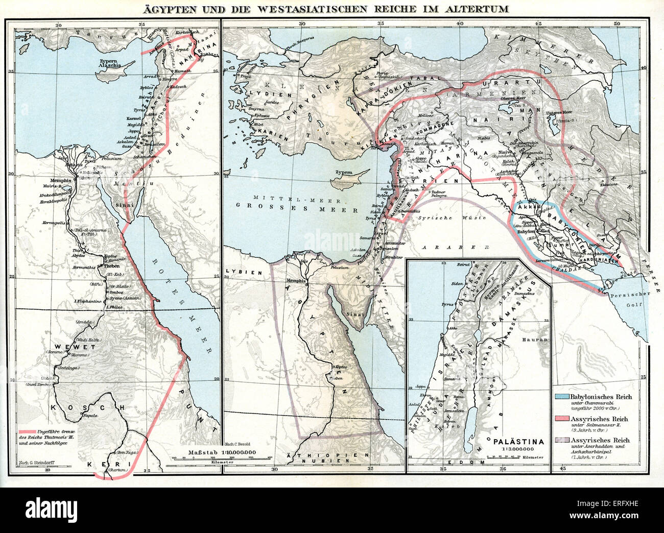 Map of Egypt and Near Eastern Kingdom in Ancient Times.  (Asia Minor / West Asia).  Close up map of Egypt and Palestine - Stock Image