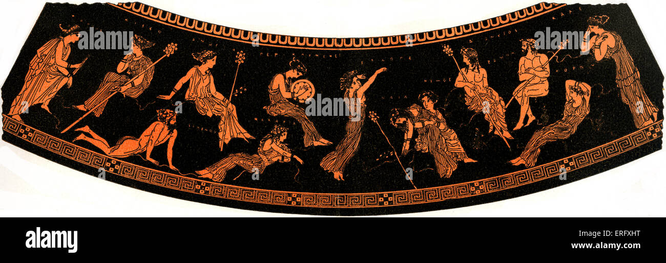 Ancient Greek illustration of Dionysus or Dionysos (Bacchus)Together with the retinue of Dionysus which called the - Stock Image