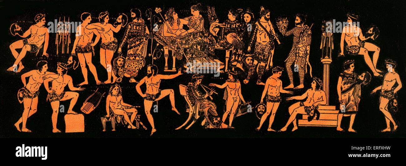 Greek theatre scene in ancient Greek illustration.  Representing f Dionysus or Dionysos (Bacchus) and Ariadne (Arianna) - Stock Image
