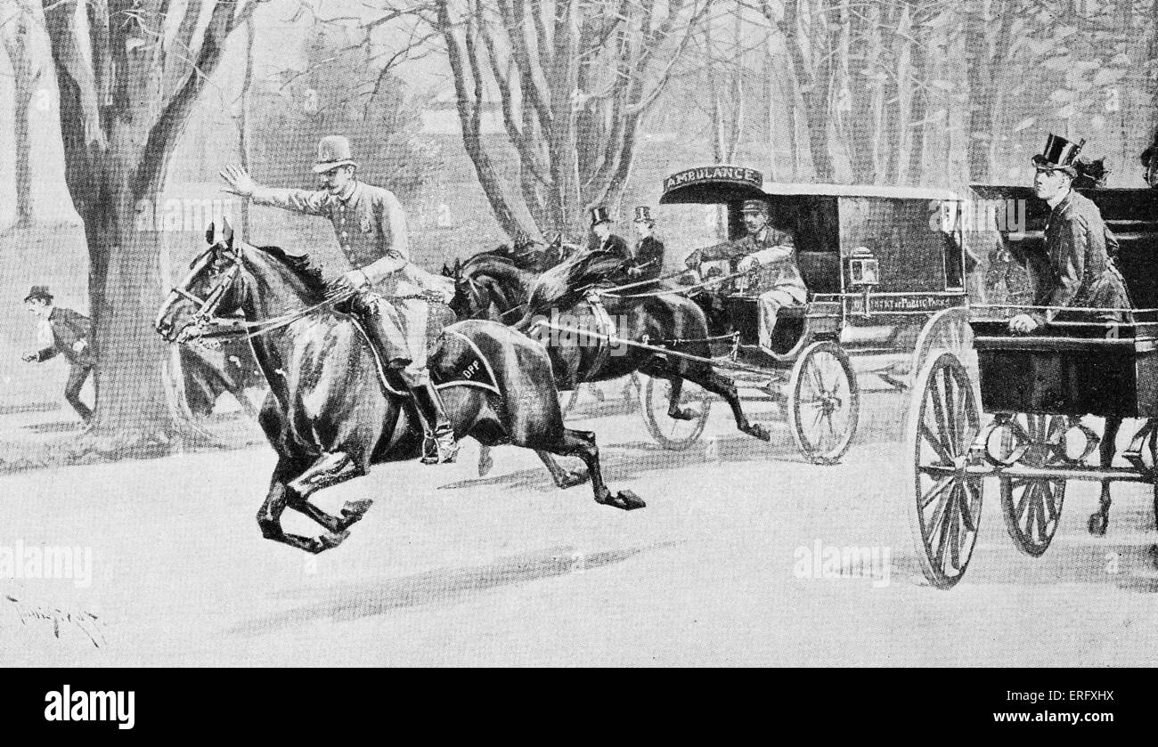 AMBULANCE HORSE DRAWN NEW YORK PARK DEPARTMENT 1895 AMBULANCE ON WAY TO ACCIDENT