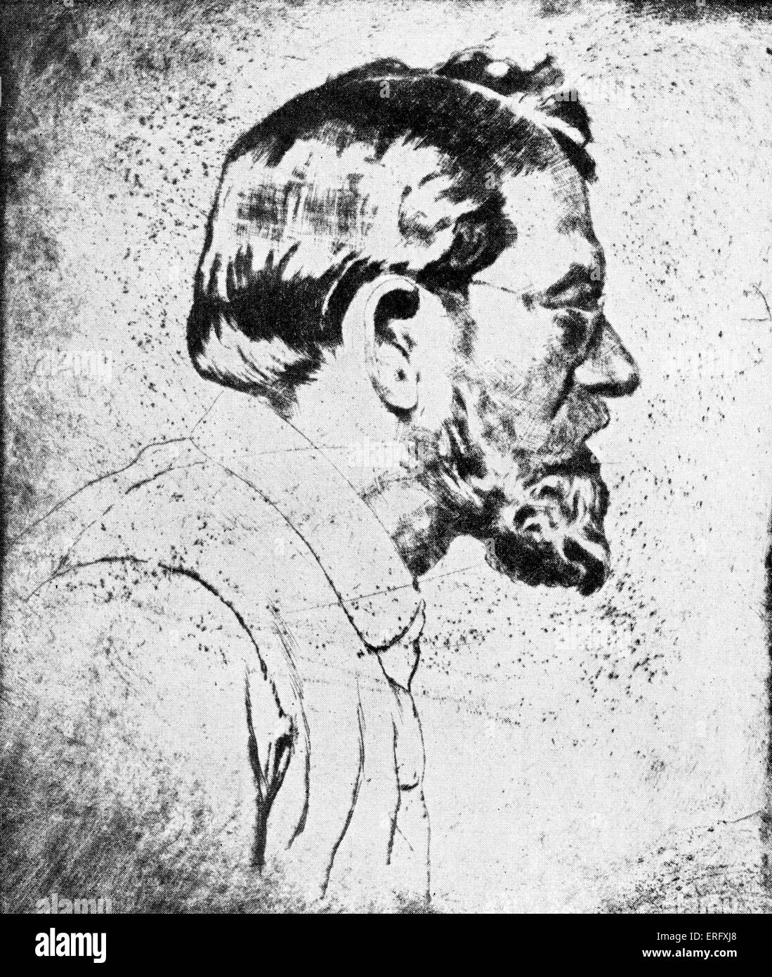 Emil Orlik - self-portrait drawn in 1910.  Czech artist, etcher and lithographer:  21 July 1870 – 28 September  - Stock Image