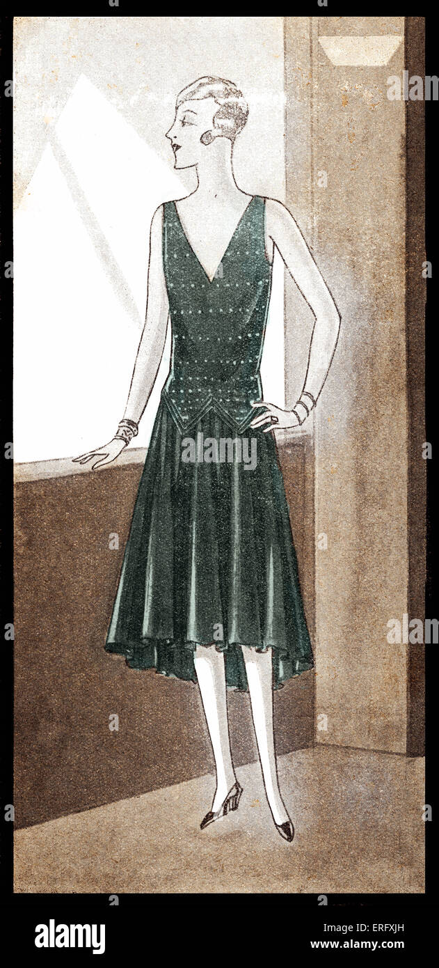 Fashion: dress in the late 1920s. Heading reads: Elegances du Soir.   Dresses made of crepe. - Stock Image