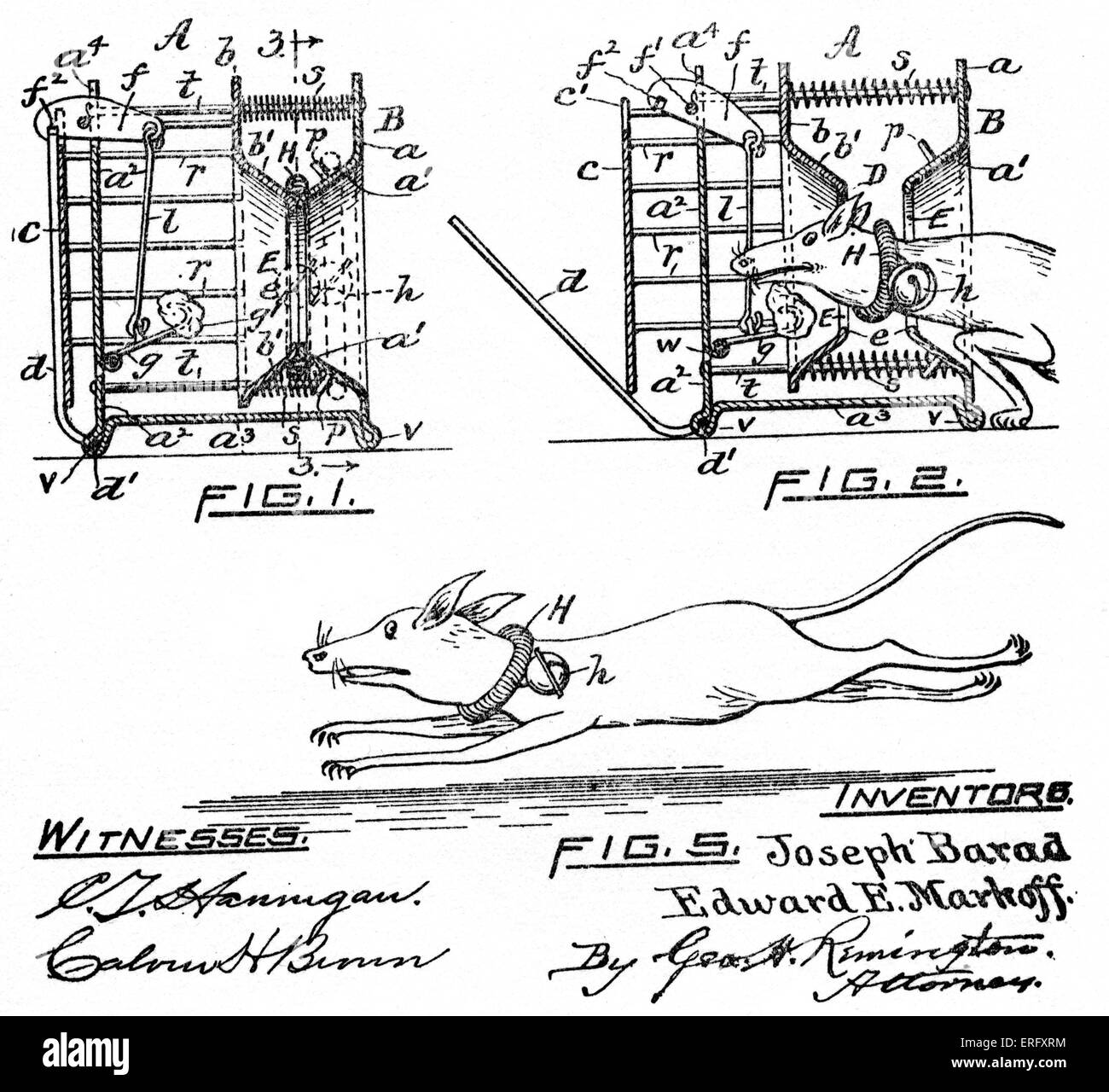 Nineteenth-century design for a rat trap.  When a rodent, attracted by the bait, triggers the device, a collar with - Stock Image