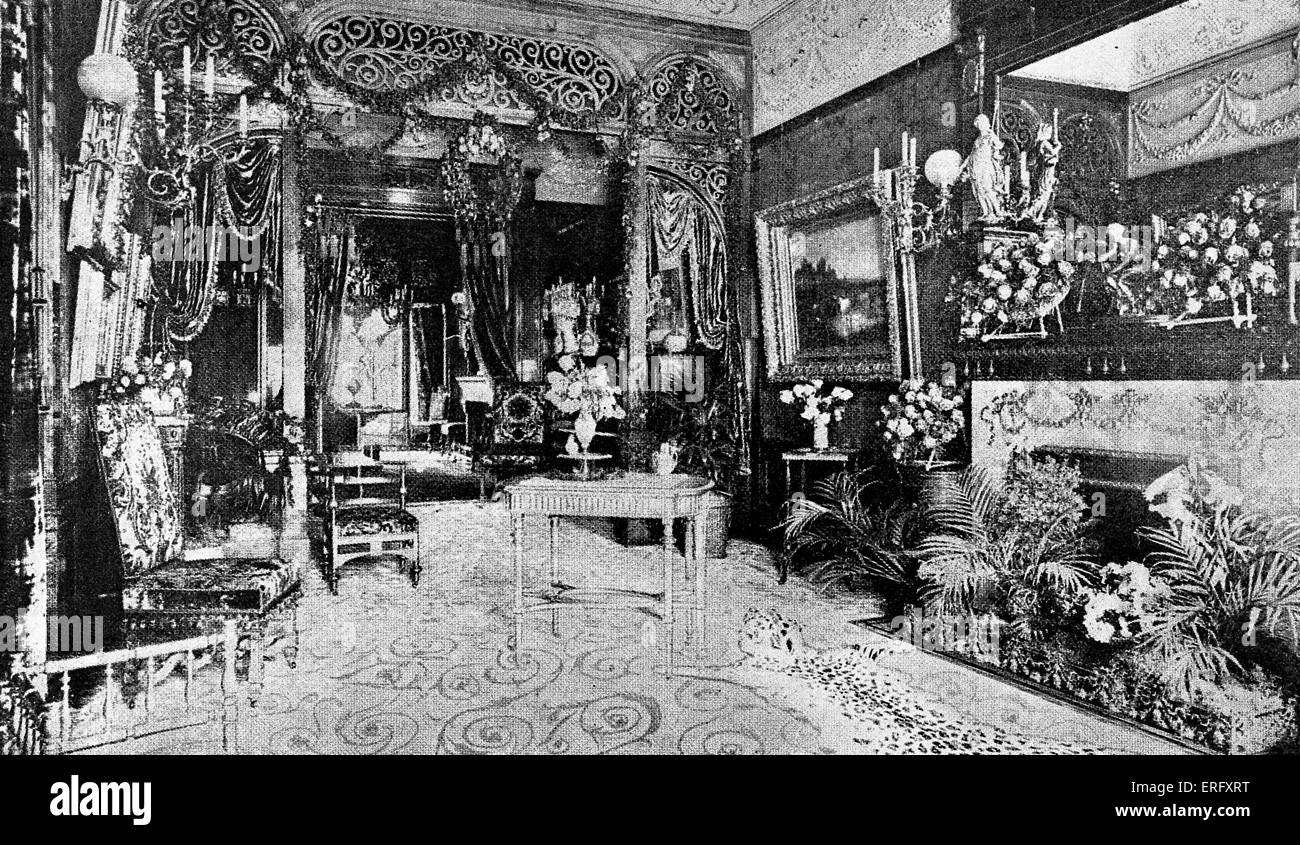 Luxurious New York interior from the 1890s. Caption reads: 'The Parlor of a Society Leader in the Nineties'. - Stock Image