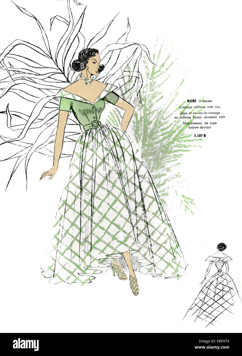 French fashion, dance dress design/ robe a danser,  for late 1940s.  From Mode de France Spring issue 1949 . - Stock Image
