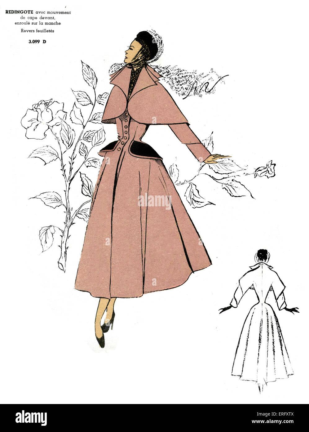 French fashion, Redingote coat design with prominent loose-fitting cape/ Redingote avec mouvement de cape. For the - Stock Image