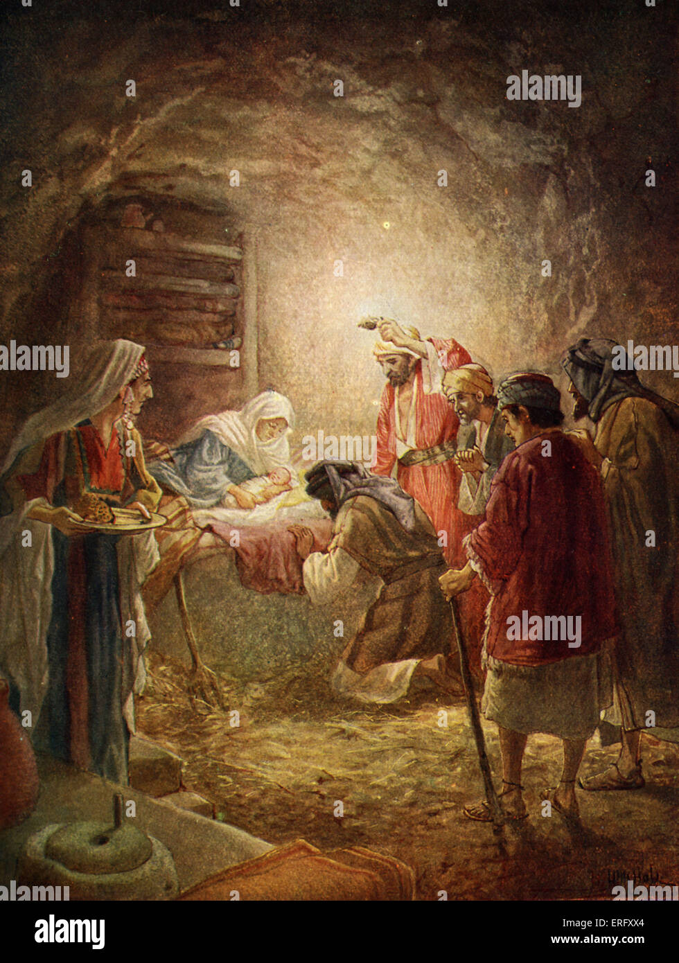 Nativity scene. 'And they came with haste, and found both Mary and Joseph, and the babe lying in the manger'. - Stock Image