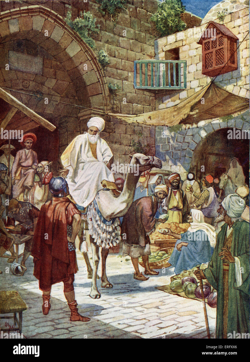 The Wise Men arrive at Bethlehem. 'Behold, wise men from the east came to Jerusalem, saying, Where is he that - Stock Image
