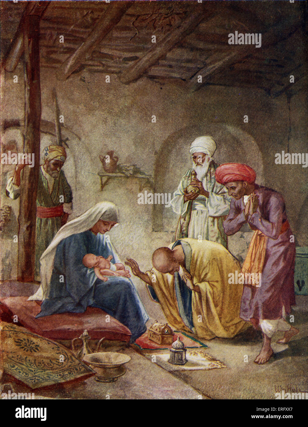 The Wise Men visit the baby Jesus 'And they came into the house and saw the young child with Mary his mother; - Stock Image