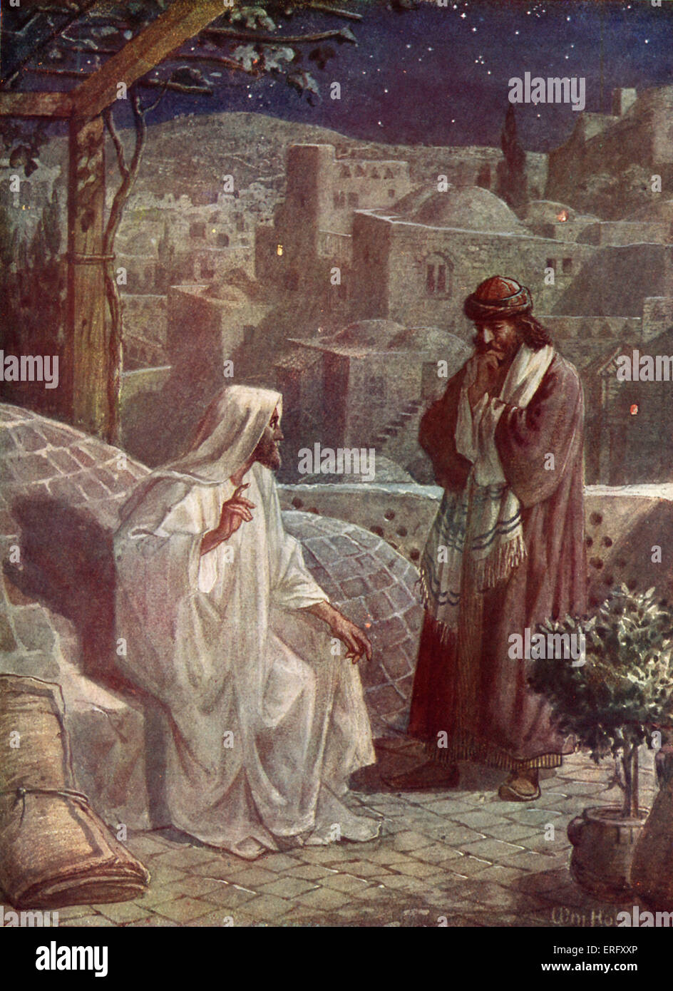 Nicodemus visits Jesus to hear his teachings. 'Now there was a man of the Pharisees, named Nicodemus, a ruler - Stock Image
