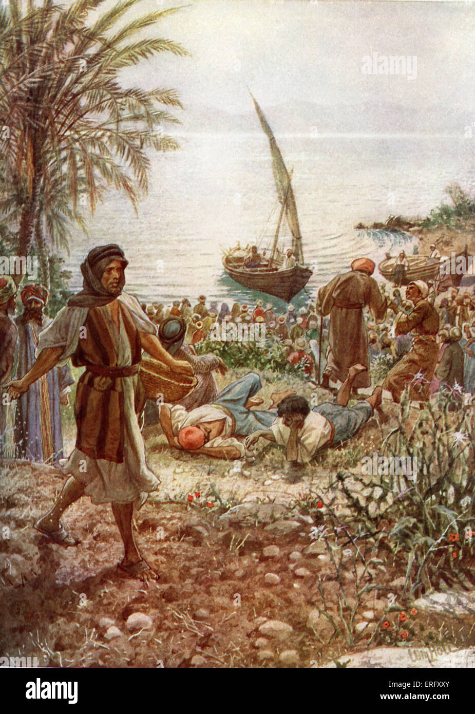 Jesus preaches The Parable of the Sower. 'And again he began to teach by the sea side. And there is gathered - Stock Image