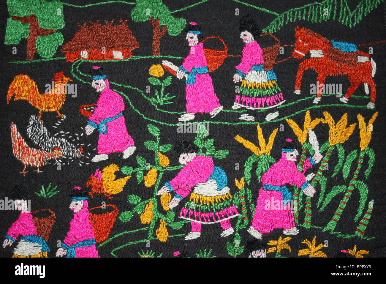 Traditional Embroidery of the Hmong Hill-tribe in Northern Thailand Depicting their Everyday Life Of Farming Stock Photo