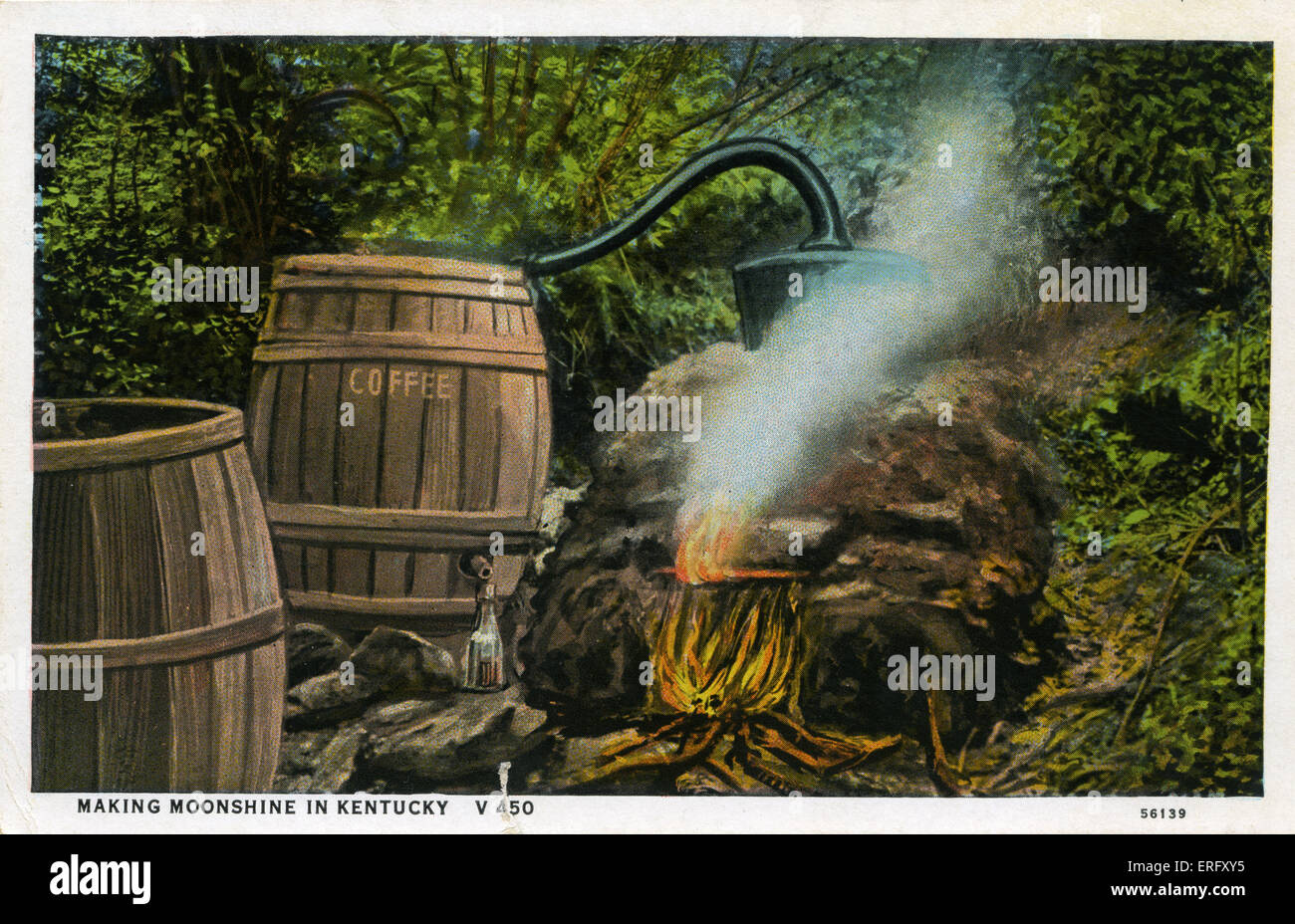Making moonshine in Kentucky.  Illegally making alcohol in America.Home distilled alcohol, made in small scale stills. - Stock Image