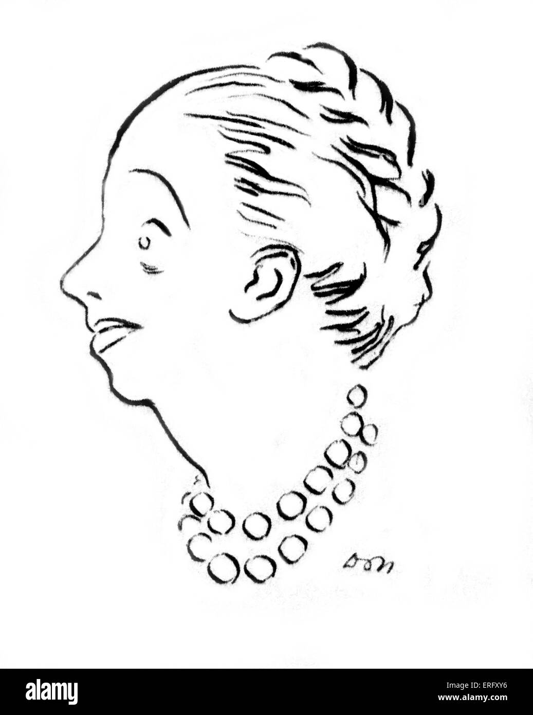 Line drawing of the French fashion designer, Jeanne Lanvin, renowned in the 1920s and 30s. B January 1, 1867– July - Stock Image