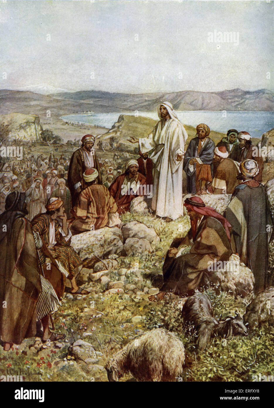 Jesus and the twelve apostles. 'And when it was day, he called his disciples: and he chose from them twelve, - Stock Image