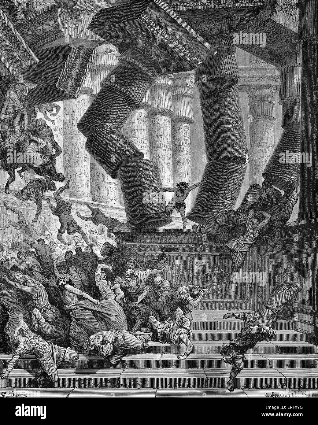 The death of Samson - Samson pulls down the temple of the Philistines at Gaza, killing himself and his enemies inside - Stock Image
