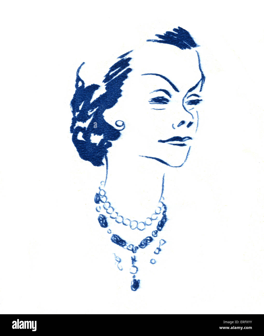 French fashion, line drawing of French fashion designer, Coco Chanel.  Feature entitled 'Les grands couturiers - Stock Image