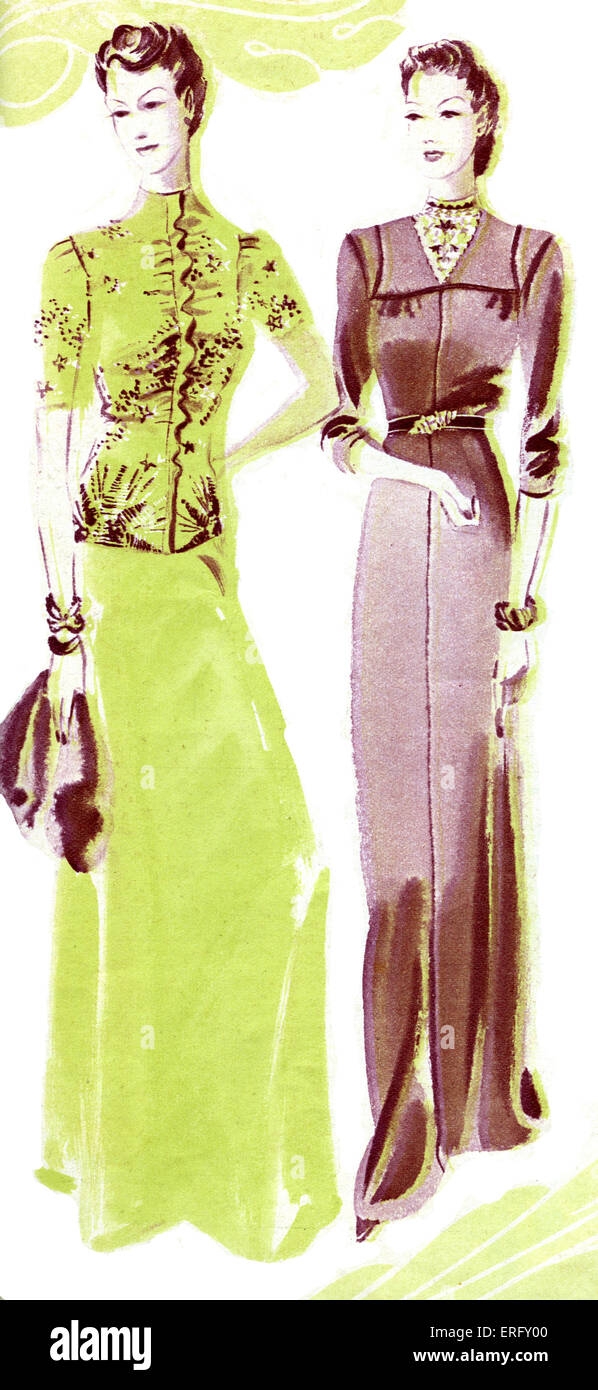 French fashion, evening dress from Elsa Schiaparelli 's 1938 autumn collection: an embroidered jacket and long - Stock Image