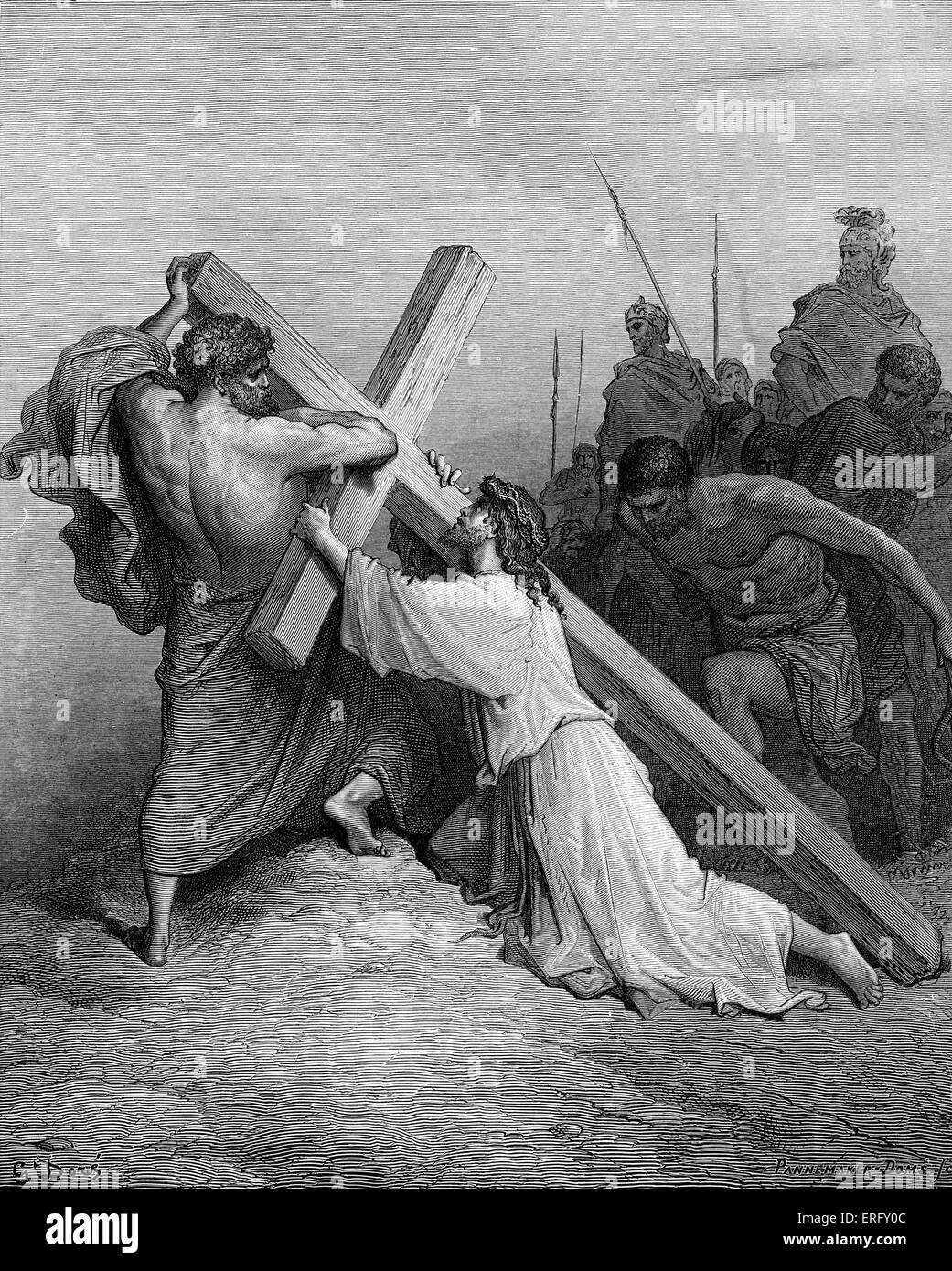 Jesus falling beneath the cross. Nineteenth-century engraving by Gustave Dore, 1832 - 1883. - Stock Image