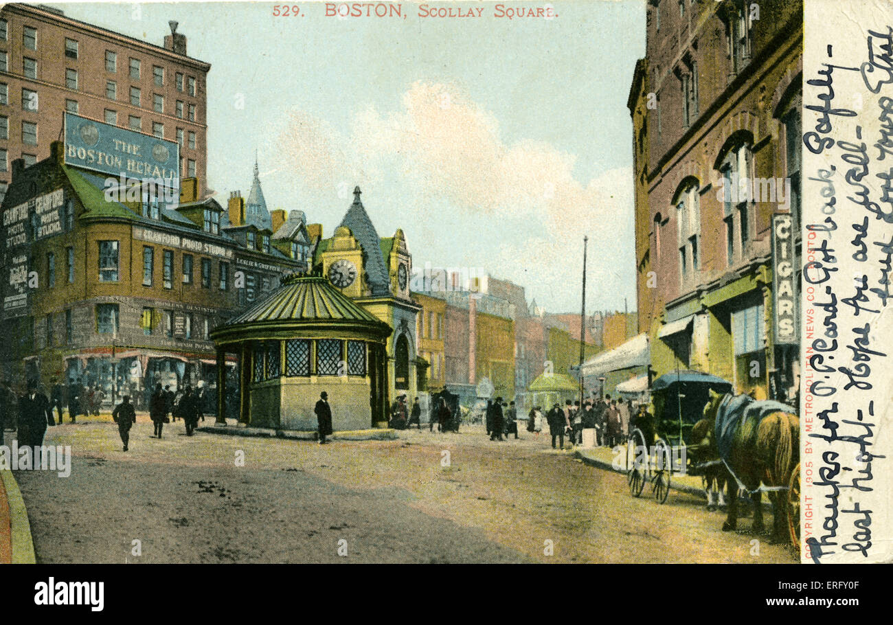 Boston, Scollay Square.  Hand written message. Postcard from early 20th century, stamped 1907. - Stock Image