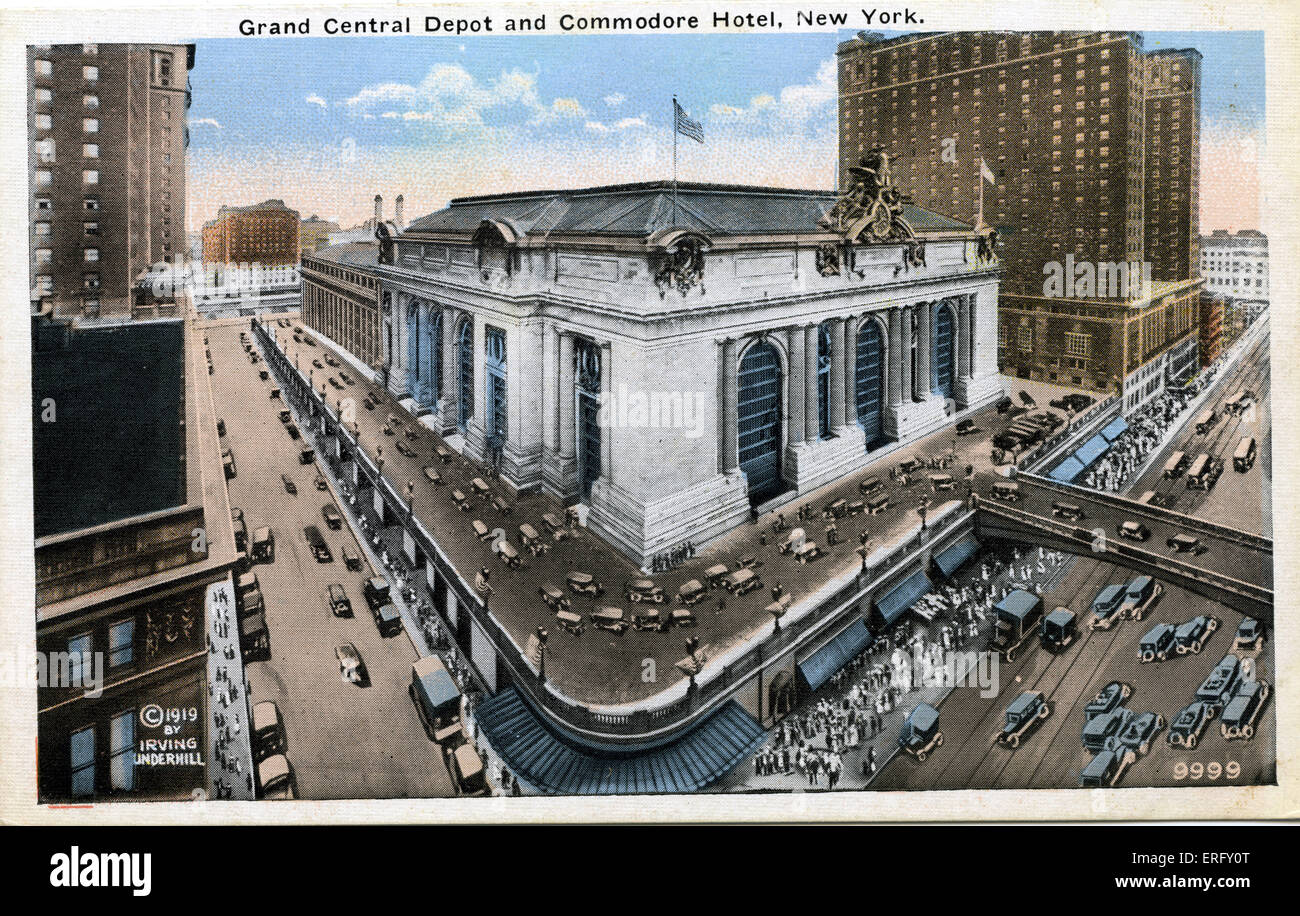 Grand Central  Depot and Commodore Hotel, New York  Grand Central train station. Postcard  with early cars driving - Stock Image