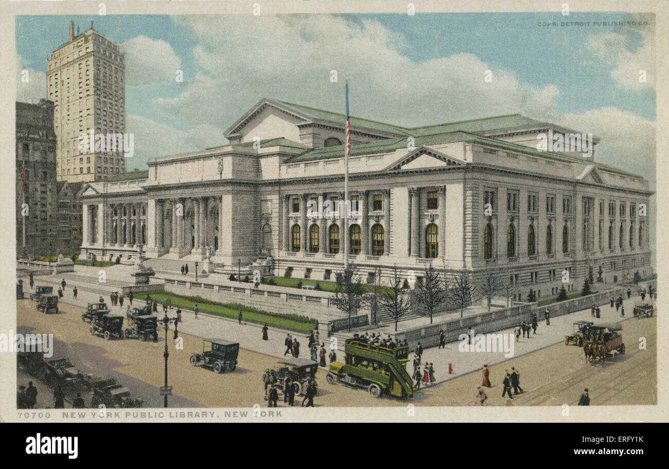 NEW YORK, Public Library, 5th Avenue & 42nd Street Stock Photo