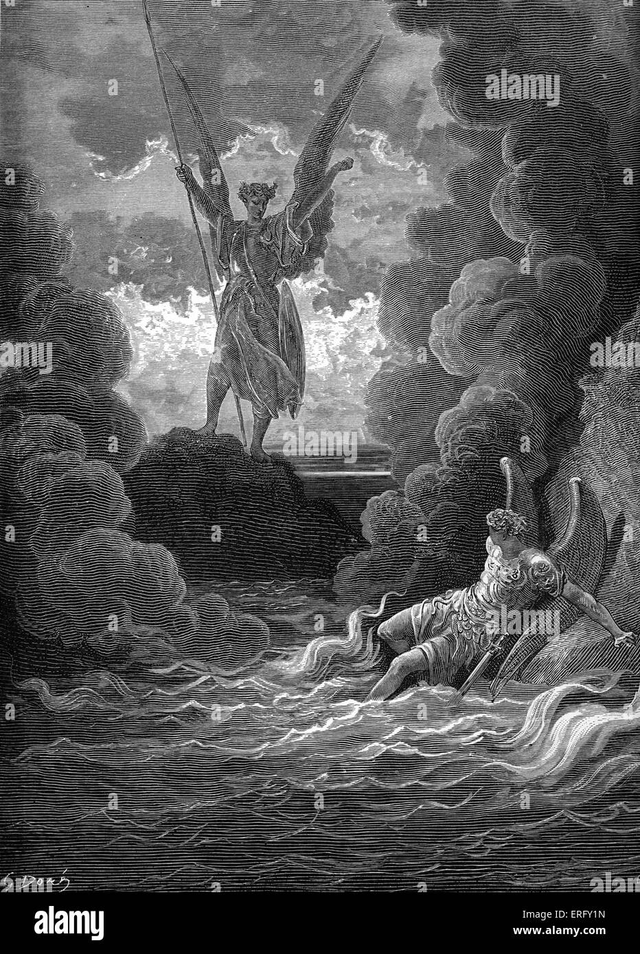 Paradise Lost, by John Milton: Satan and Beelzebub, having fallen from heaven,are in an abyss of raging fire. Satan - Stock Image