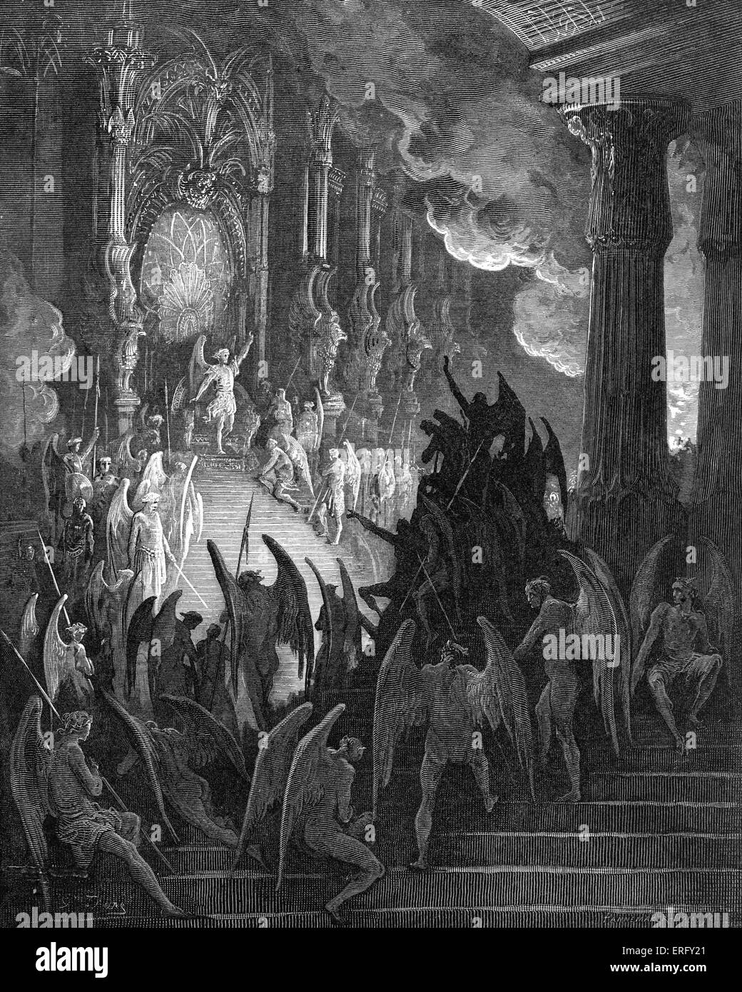 Paradise Lost, by John Milton: Satan in Council. Satan in his magnificent palace in Pandaemonium, the capital of - Stock Image