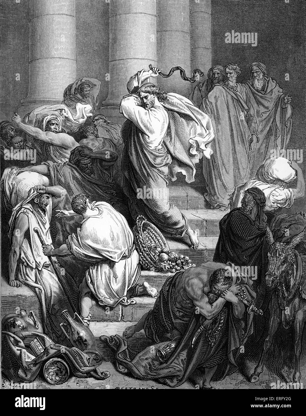 Jesus clears the buyers and sellers out of the temple: 'And he went into the temple, and began to cast out them - Stock Image