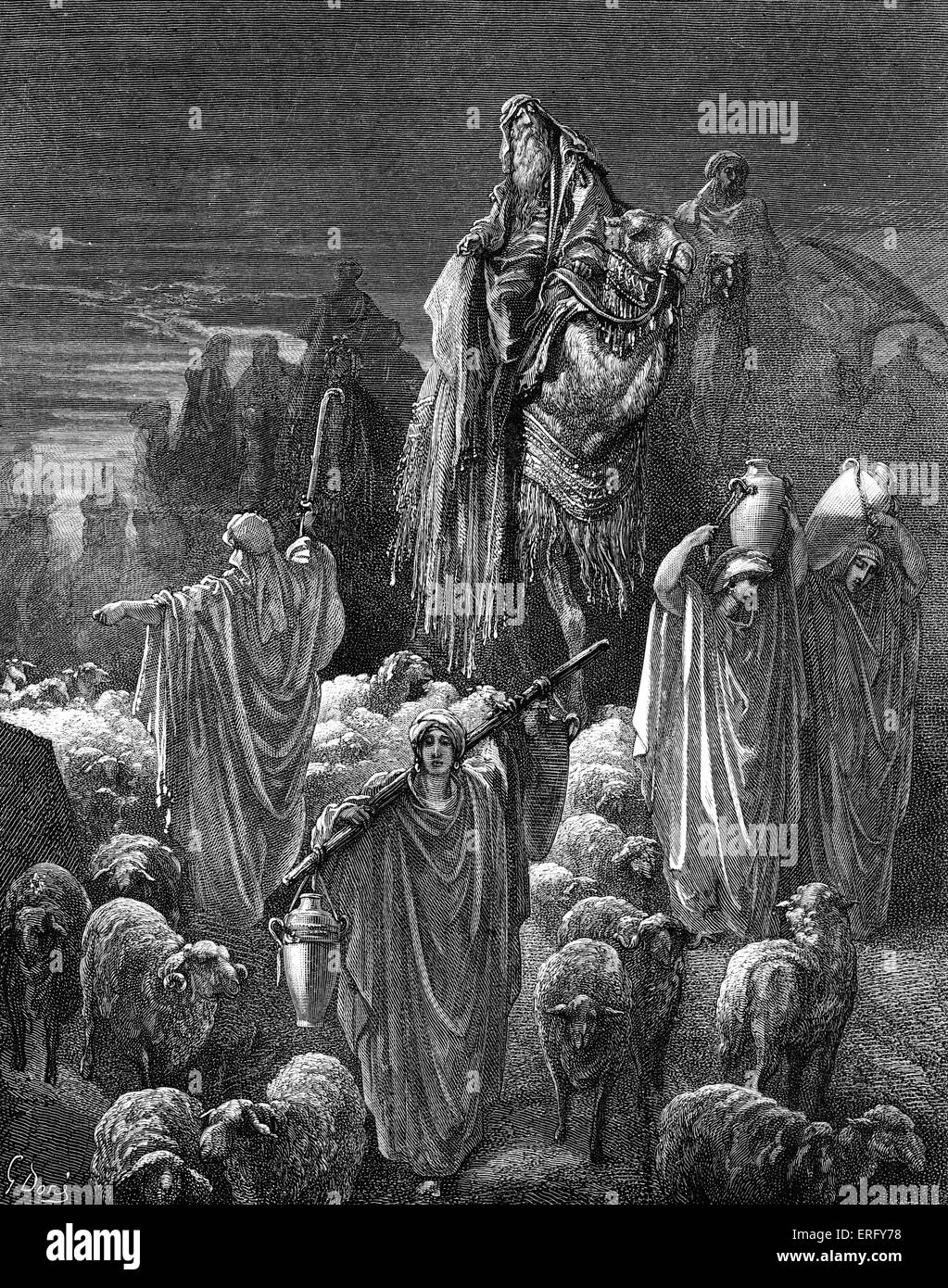 Jacob travelling into Egypt: 'And they took their cattle, and their goods, which they had gotten in the land - Stock Image
