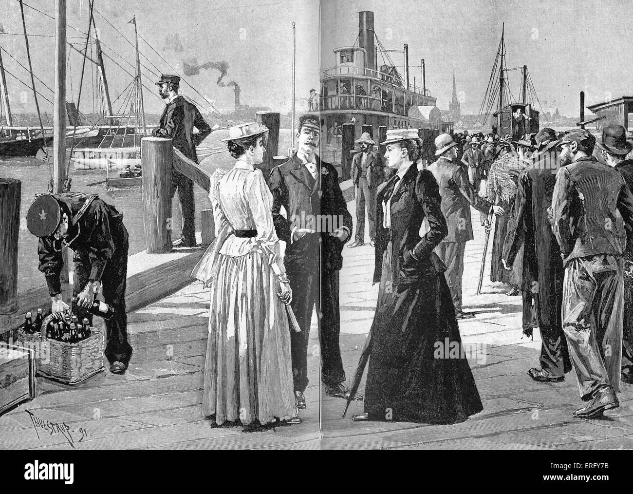 Members of the New York Yacht Club, 1890s. At the foot of Twenty-sixth Street, East River, New York. On the right - Stock Image
