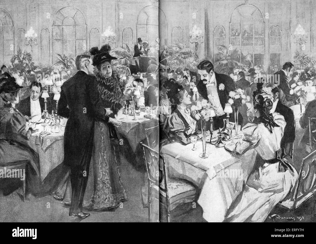 Members of high society at the Waldorf Hotel, 1896. The dining room has been specially decorated for Horse Show - Stock Image