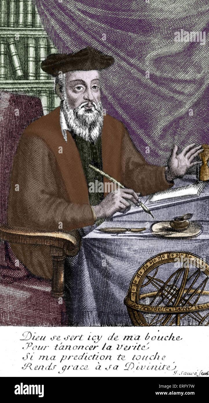 Nostradamus (Michel de Nostredame) - apothecary, author, translator, astrological consultant, December 1503 - 2 Stock Photo