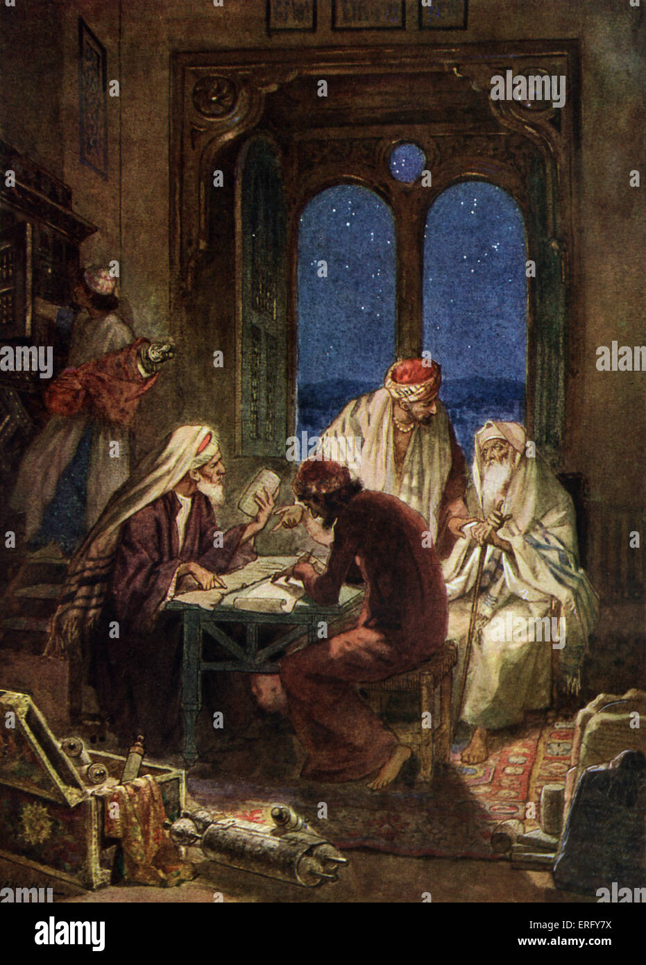 Learned Jews writing bible scrolls in the Holy Land..  Caption: Compiling and editing the canon of scripture and - Stock Image