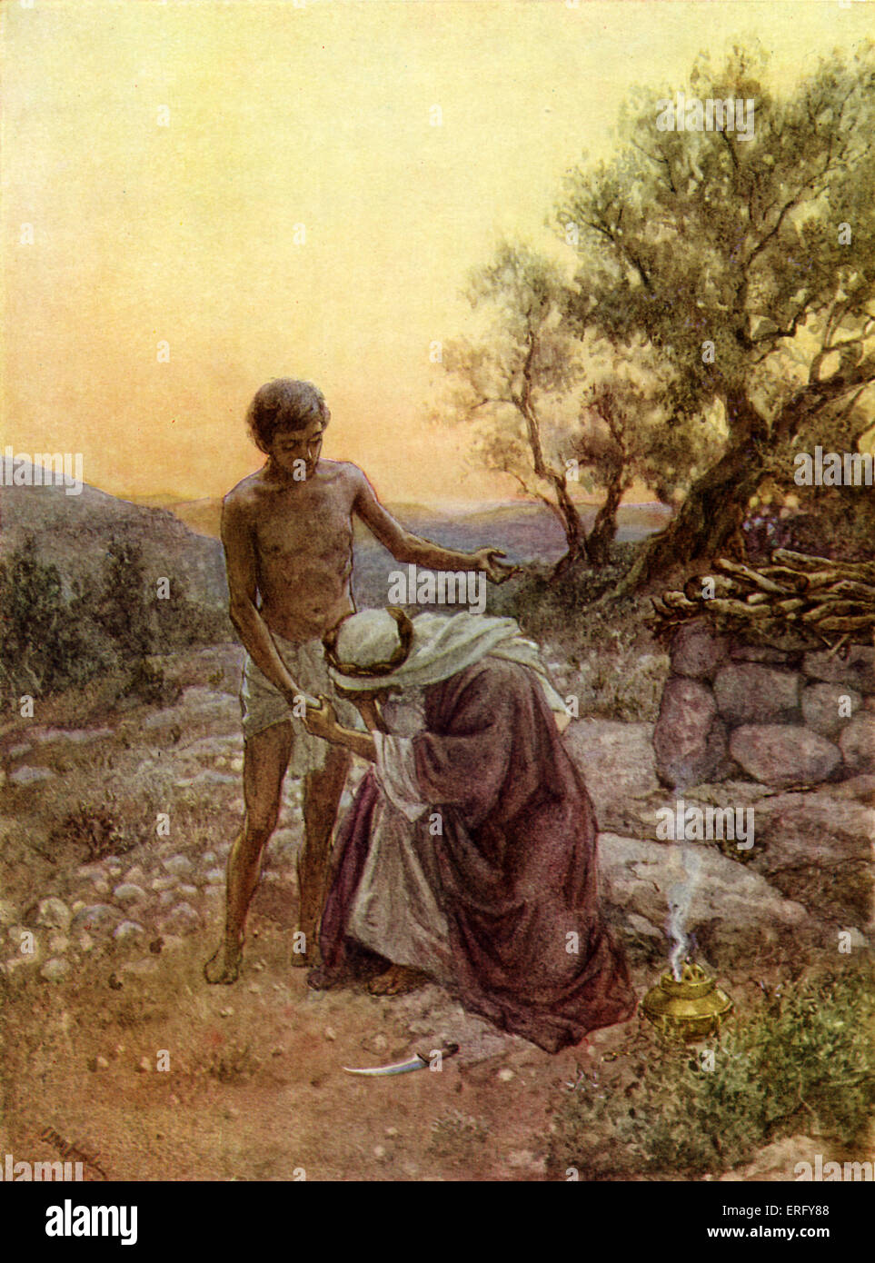 Abraham and Isaac at Mount Moriah. Genesis    Abraham prepares to sacrifice his son for God.  Illustration by William - Stock Image