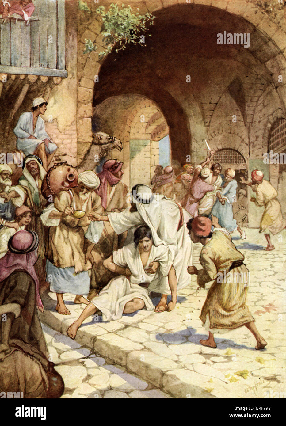 Establishment of the biblical  City of Refuge. If someone killed their neighbour by accident or without malicious - Stock Image