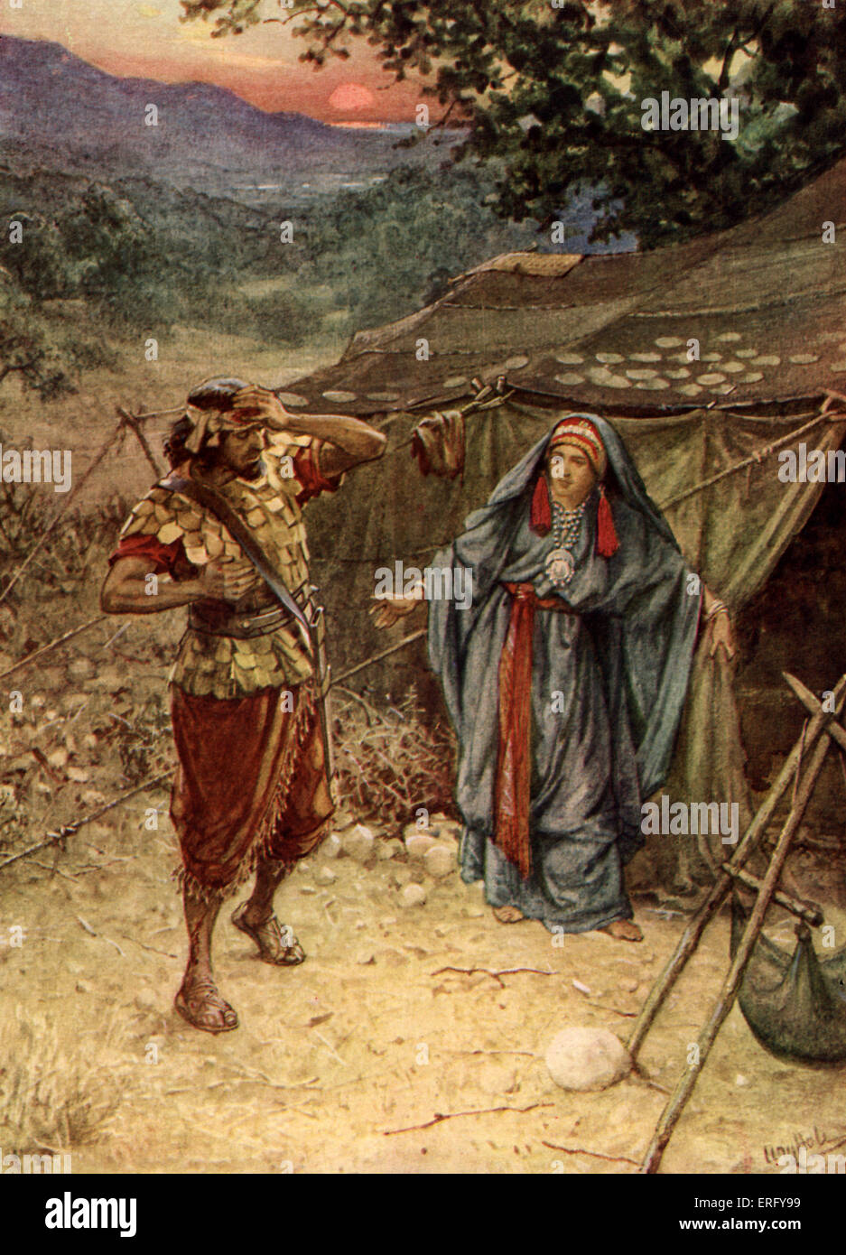 Jael / Yael and Sisera. Judges 4:18 ' Jael went out to meet Sisera and said to him, 'Come, my Lord , come - Stock Image