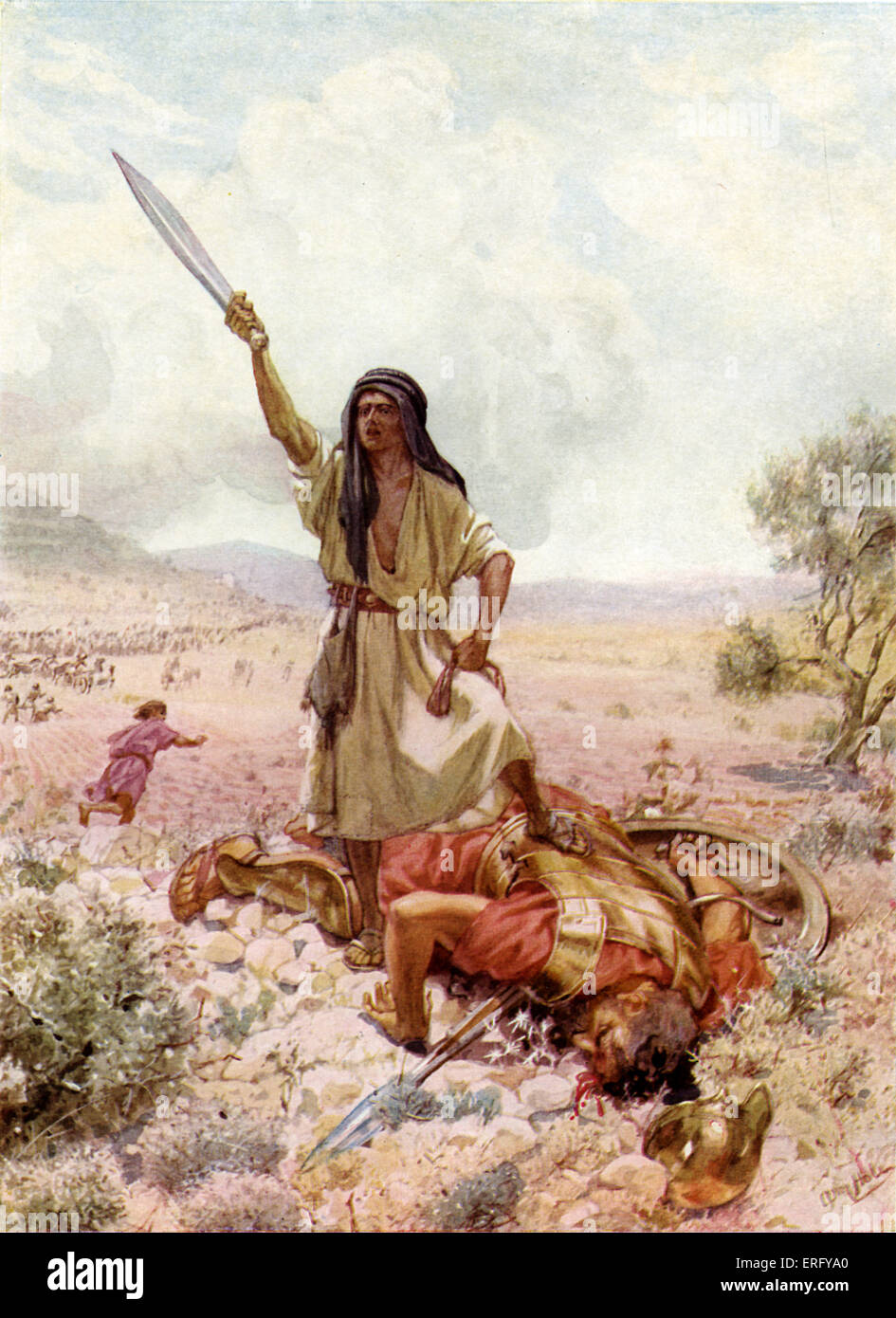 David about to cut off Goliath 's head after slaying him. I Samuel 17 : 50-51.  'So David prevailed over - Stock Image
