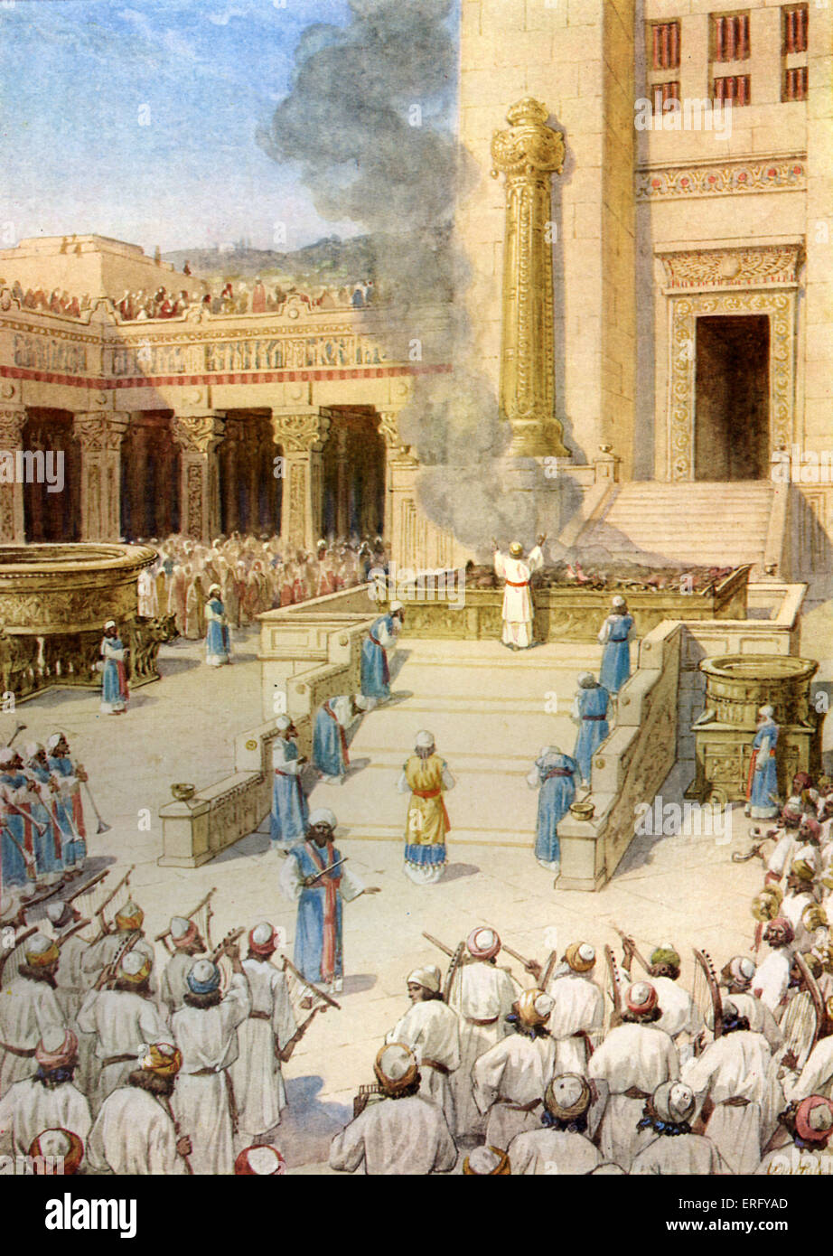 The dedication of the Temple in Jerusalem built by King Solomon. 2 Chronicles 5: 12 -13. 'Also the Levites which - Stock Image