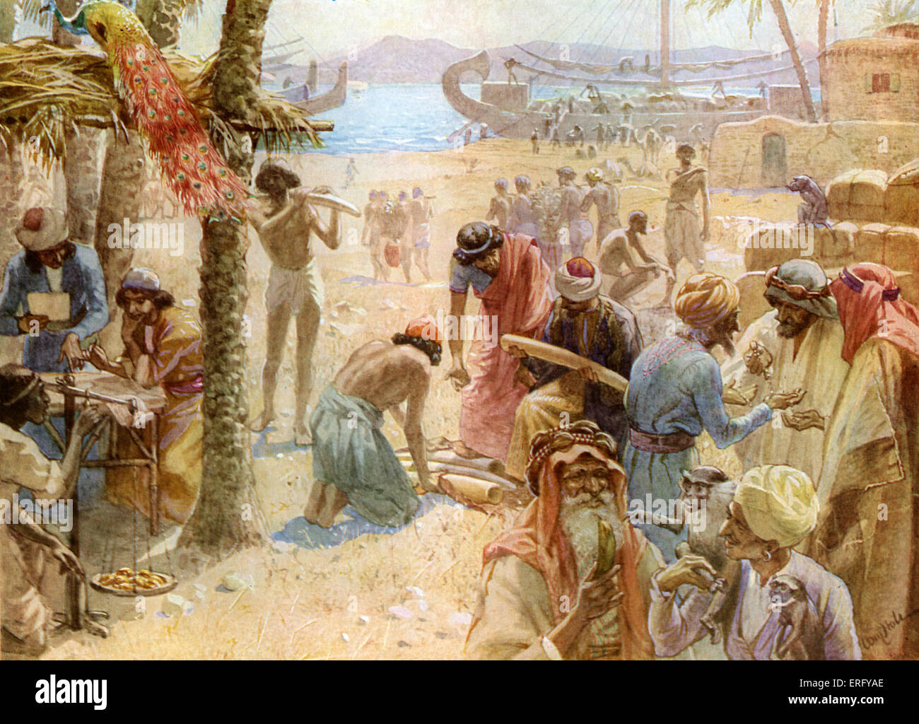The commerce of King Solomon. I Kings 10: 22 - 23. ' For the king had at sea a navy of Tharshish with the navy - Stock Image