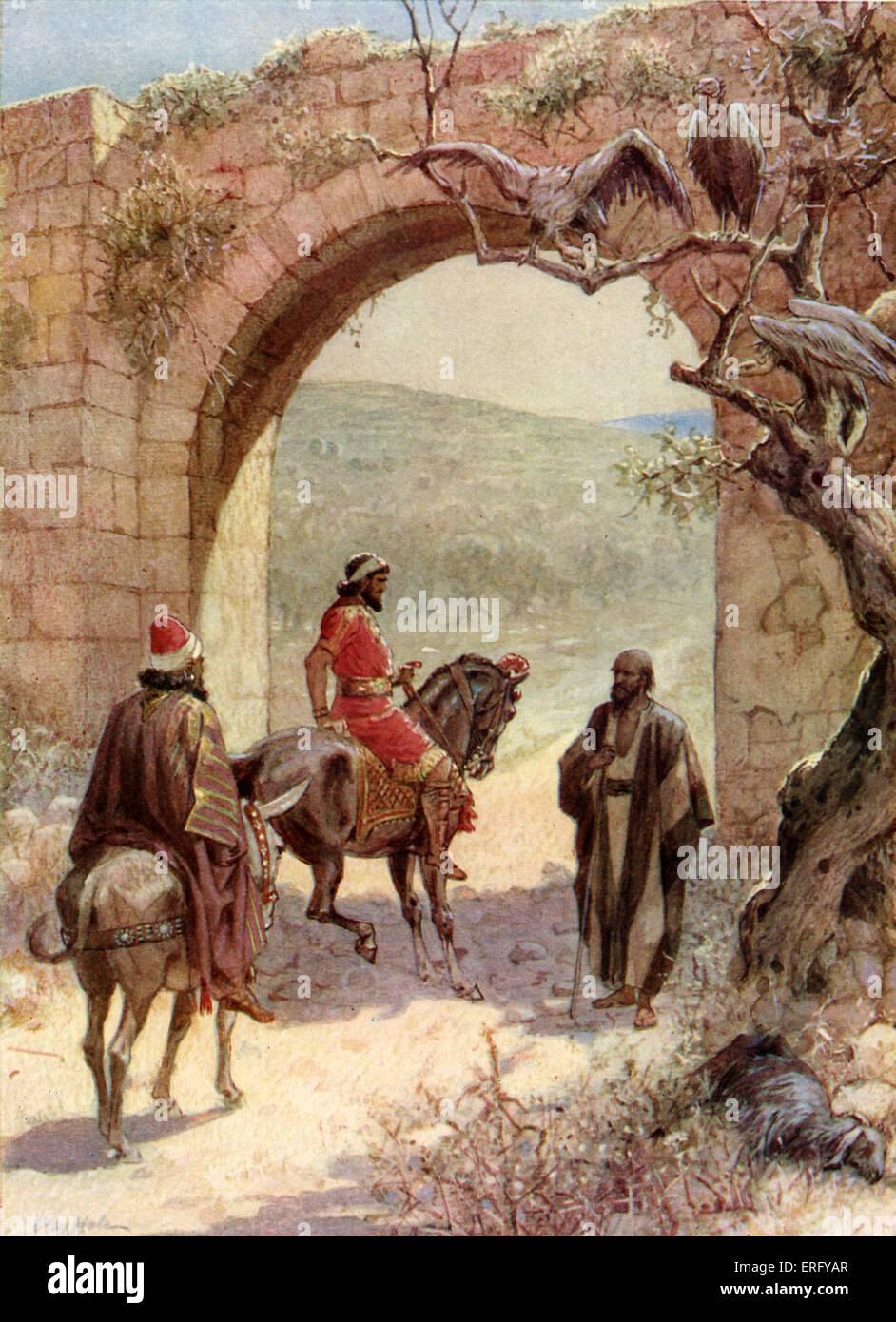 Ahab and Elijah meet. I Kings 18: 17 -18. 'And it came to pass, when Ahab saw Elijah, that Ahab said unto him, - Stock Image