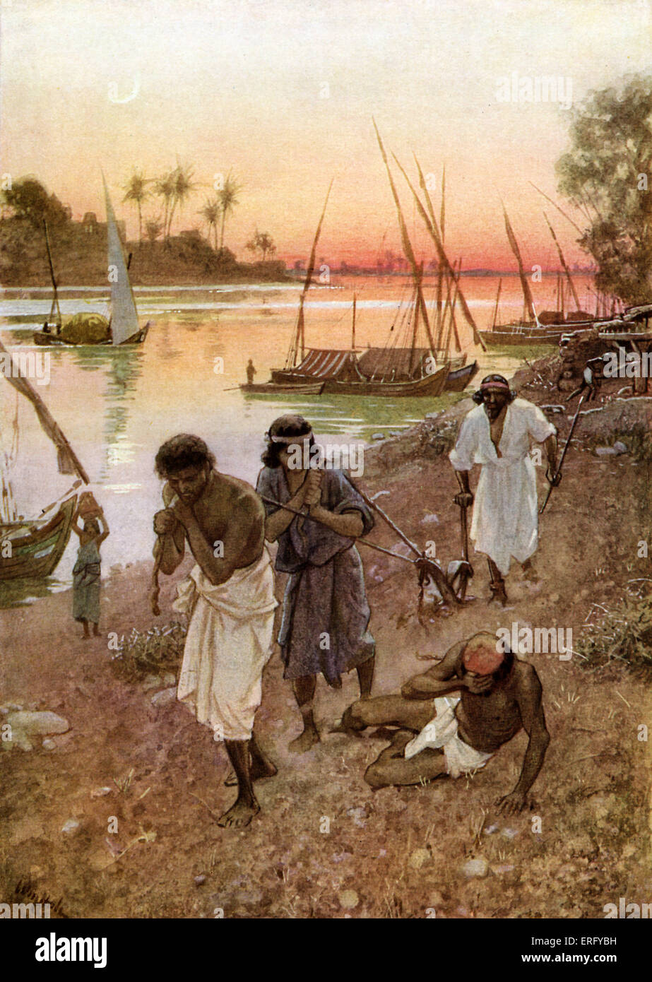 Captivity in Babylon of the Israelites. Psalm 137 : 1- 5. 'By the rivers of Babylon, there we sat down, yea, we Stock Photo