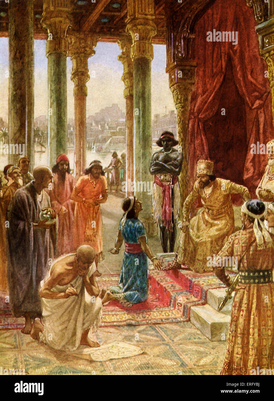 Daniel interprets the dream of Nebuchadnezzar. Daniel 2: 25 -28. 'Then Arioch brought in Daniel before the king - Stock Image