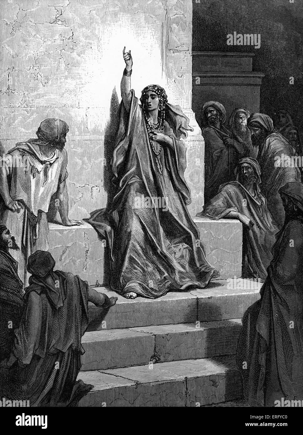 Deborah's song of triumph. Biblical scene from the Old Testament.  Woodcut by Gustave Doré (1832 - 1883). - Stock Image