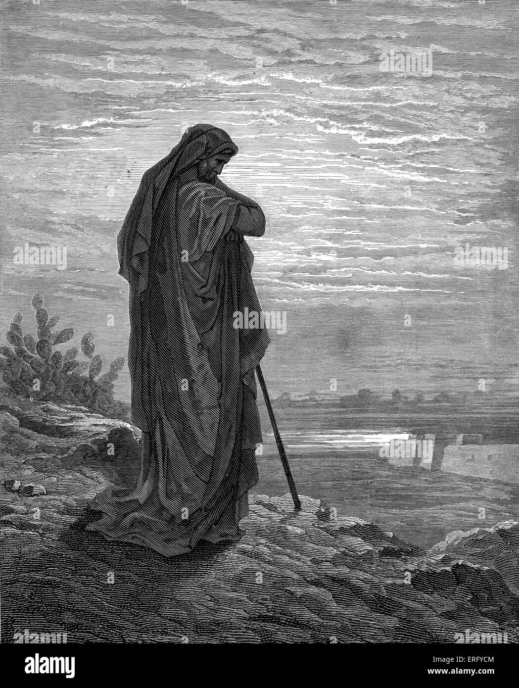 The Prophet Amos, engraving by Gustave Doré. Amos, prophet  at the time of Jeroboam II of Israel and King Uzziah Stock Photo