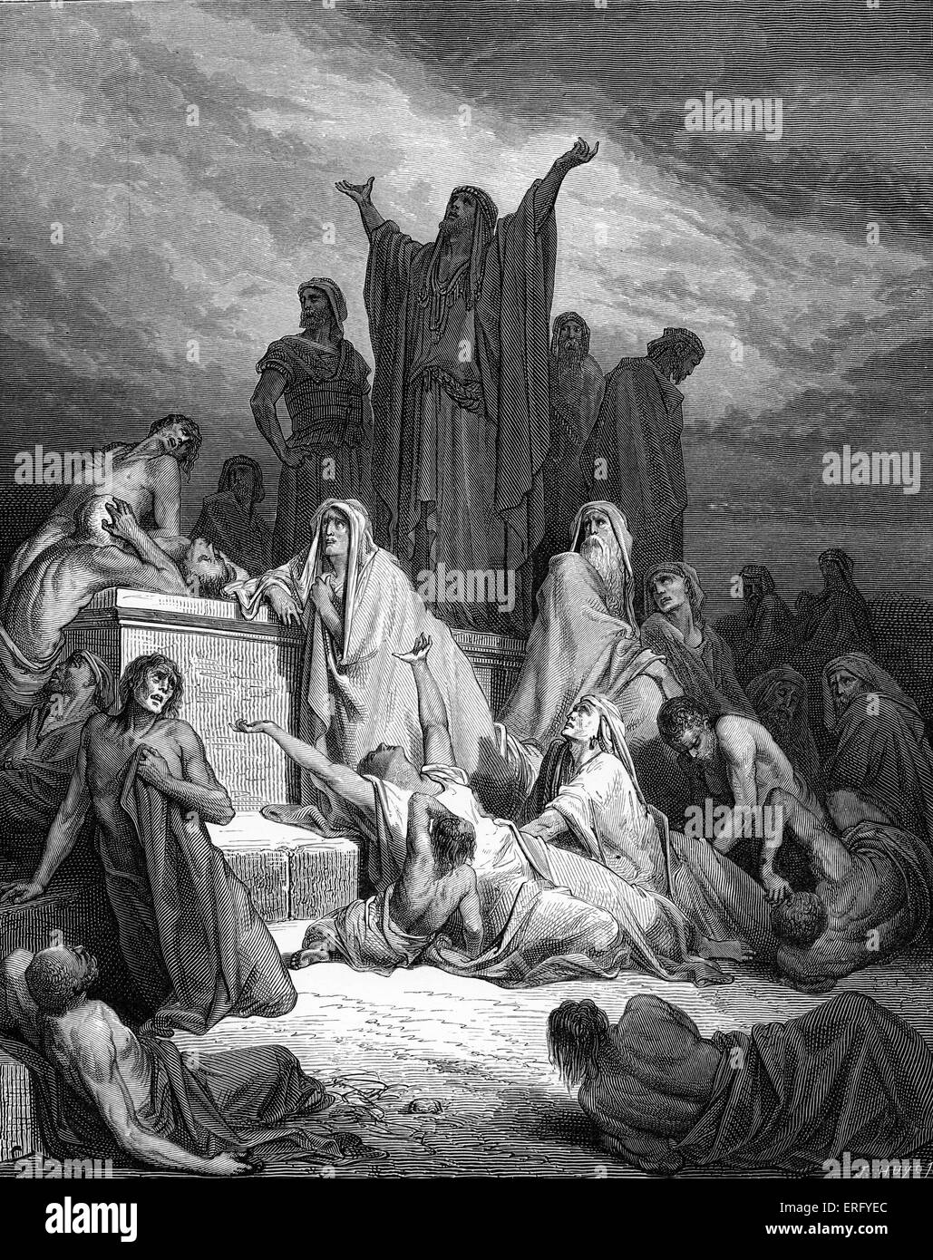 The Plague of Jerusalem, engraving by Gustave Doré. The people of Israel suffer with the plague God sent on - Stock Image