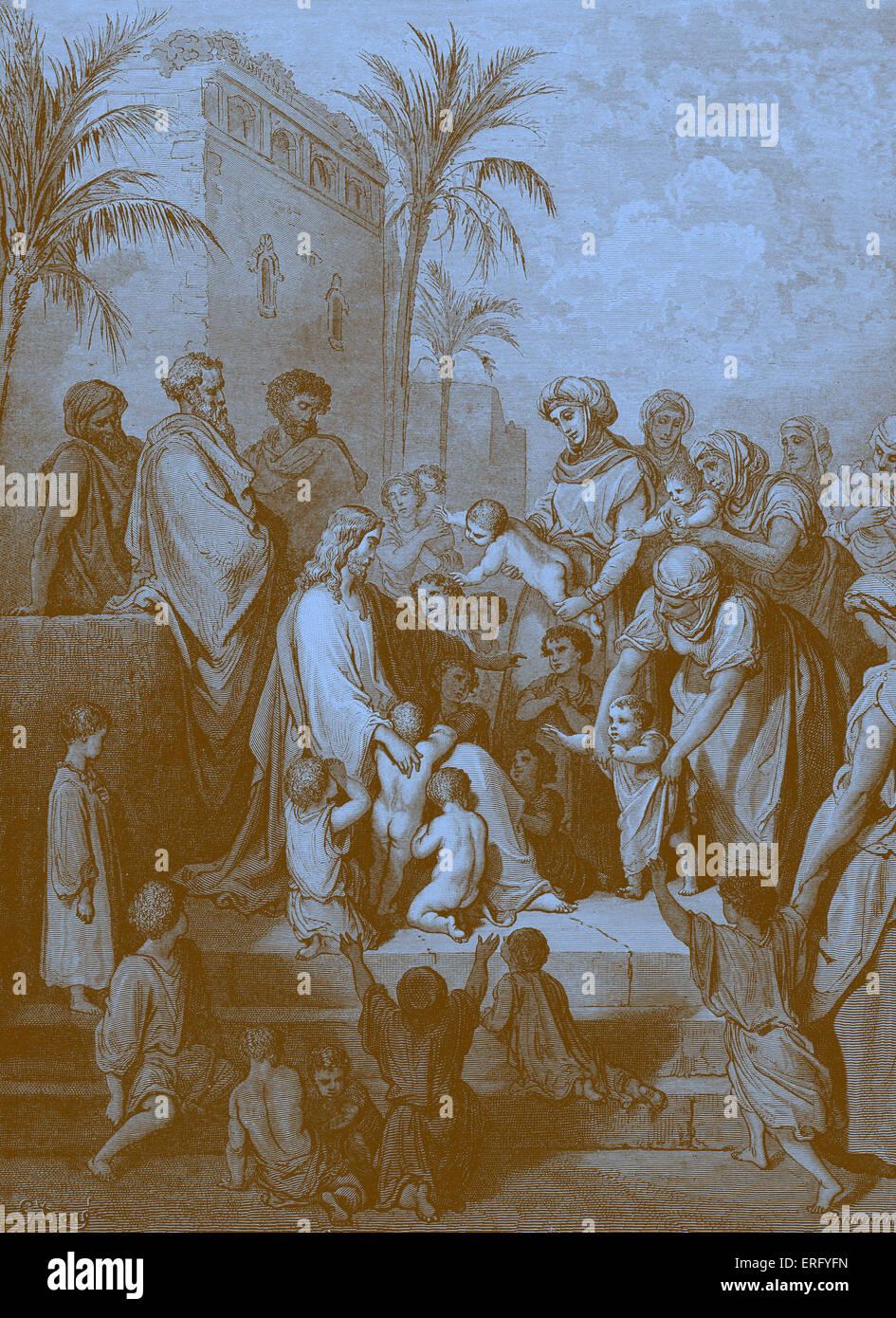 Jesus blesses the little children despite his disciple 's rebuke, on the Judean coast, saying, 'Suffer the - Stock Image