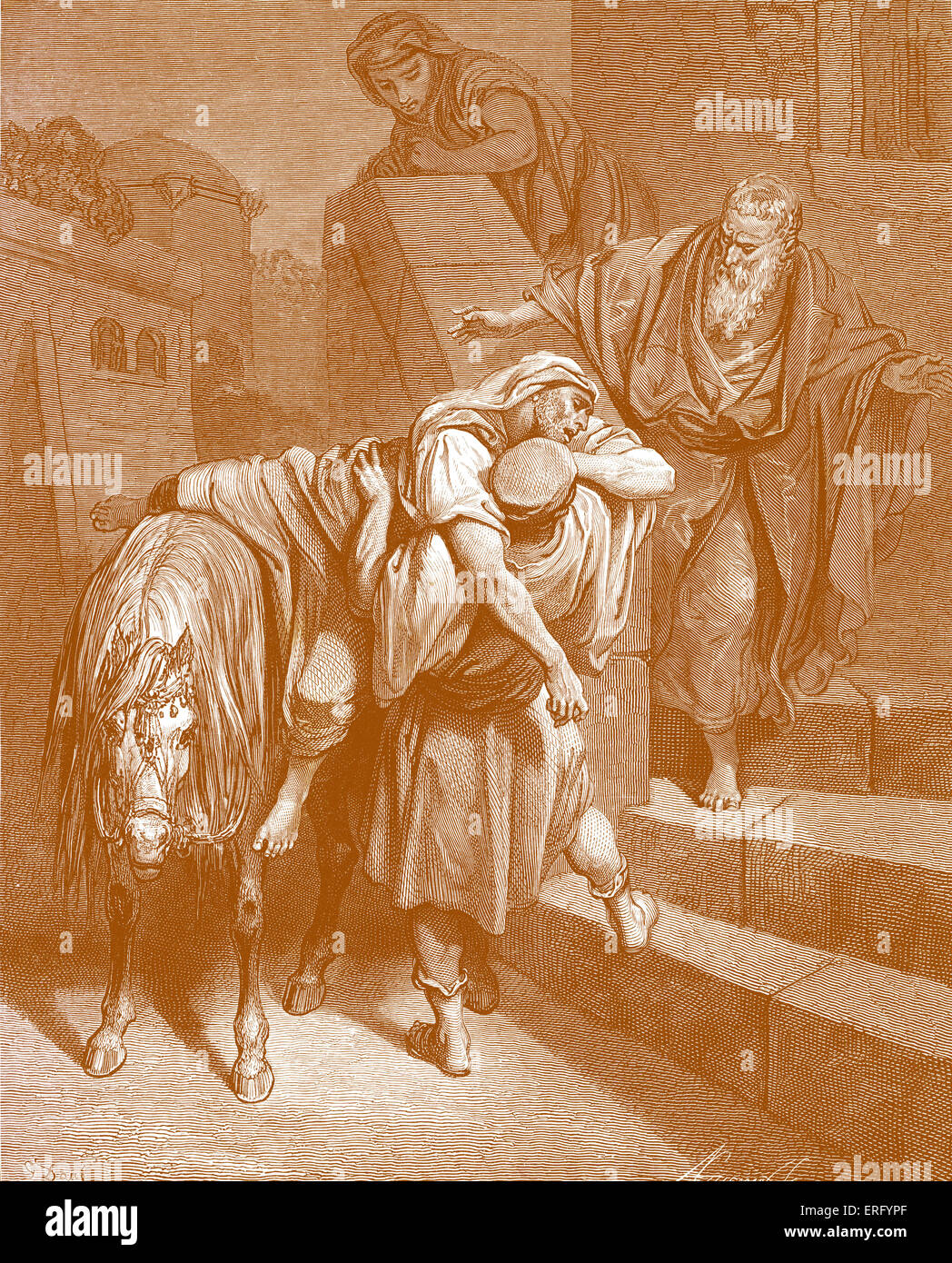 The Good Samaritan arrives at the inn, engraving by Gustave Doré. The Good Samaritan helps  the robbed and - Stock Image